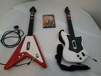 Mixed Lot Of 2 Guitar Hero Ps2 Guitars With Guitar Hero 3 Game Mixed Lot Bundle