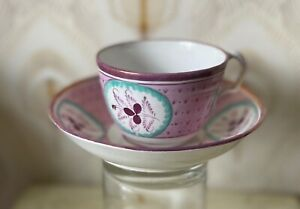 Early English pink lustreware cup and saucer, 1800s, poss Sunderland or Staffs