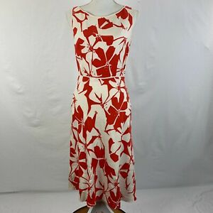 Adrianna Papell Linen Dress Red White Floral Sleeveless Size 4