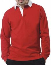 GAMEGEAR RED LONG SLEEVE/SLEEVED MENS/BOYS PLAIN RUGBY SHIRT WHITE COLLAR SIZE L