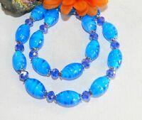 Halskette blau Collier Glas Murano Art Lampwork oval türkis facettiert 202g