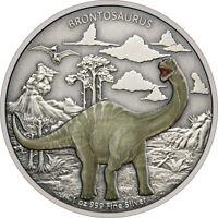 Niue - 2021 - 1 OZ  Silver Proof Coin - Dinosaurs – Brontosaurus