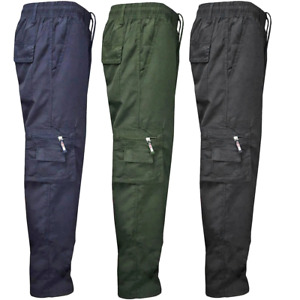 Mens Fleece Lined Thermal Bottom Cargo Trousers Combat Pant Work Trousers