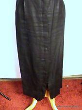 Unique Black Preston & York Women's Long Front Button Skirt Sz 8 Imported Fabric