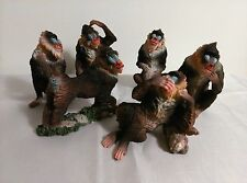 """MANDRILL MONKEY Figurines, Set of 6, 3' TO 4"""", New, Hand Painted,"""