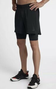 Nike FLEX PREMIUM 7 Inch 2-in-1 Training Shorts Small Mens's Black 927364 011