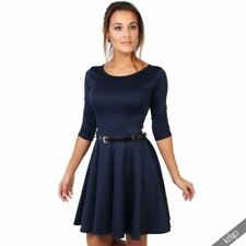 e54bde0731f 3 4 Sleeve Striped Dresses for Women with Belt