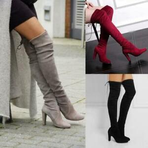WOMENS LONG THIGH HIGH BOOTS OVER THE KNEE PARTY STRETCH BLOCKS MID HEEL SHOES