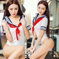 Women Sexy Sailor Schoolgirl Uniform Cosplay One-piece Catsuit Lingerie Swimsuit
