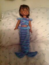 "Fits Wellie Wishers Halloween mermaid tail blue costume 14"" doll clothes outfit"