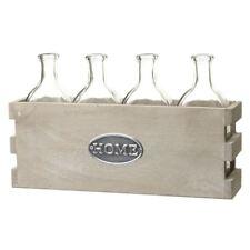 Shabby Chic 4 Glass Bottles & Wooden Holder Home Set by Heaven Sends