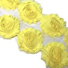 "1 yard bright yellow 2.5"" shabby chiffon rose trim fabric flowers DIY supply"
