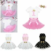 Infant Baby Girls Outfit Short Sleeve Glittery Birthday Party Romper Tutu Skirts