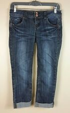 EUC Refuge Blue Stretch Rolled Cuff Boyfriend Cropped Jeans Size 0