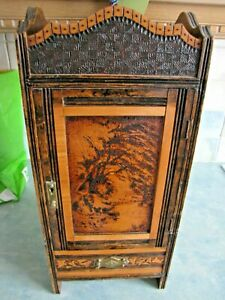 vintage antique pipe holder smokers carved cabinet