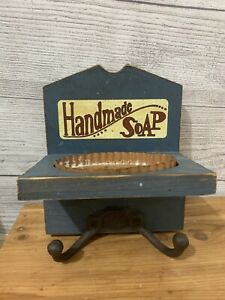 Primitive  Wood Bath Soap and Hand Towel Holder Hook