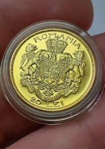ROMANIA 20 Lei 1922 Gold Historical coin 2008 BU Romanian Rumänien UNC FERDINAND