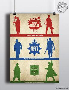 CORNETTO TRILOGY - Minimalist Poster Posteritty Minimal Shaun, Hot Fuzz Taglines