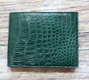 Genuine Real Belly Crocodile Alligator Leather Skin Man Bifold Green Wallet