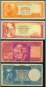 Greece  P-177 ,P189a, P183, P192b  Fine or Better.. (Total: 4 notes)