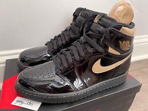 NIKE AIR JORDAN 1 RETRO HIGH OG Black Metallic Gold Shoes 8.5 555088 032