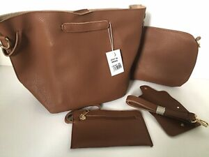 Ladies 5 Piece Faux Leather Bucket Bag Set. Tan Brown. Purse Card Holder Make Up
