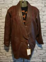Vera Pelle Ladies brown Italian leather embroidered L 12 /14 uk blogger 80s vtg