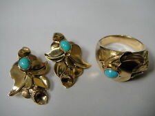 Antique 18k & Sleeping Beauty Turquoise 3 pc Set by ANTON MICHELSON **Reduced**