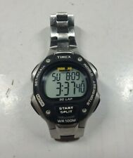 Timex Ironman Triathlon Watch Indiglo Stainless Steel Band 30 Lap Memory WR100M