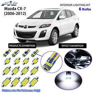 6 Bulbs LED Interior Light Kit Cool White Dome Light For 2006-2015 Mazda CX-7