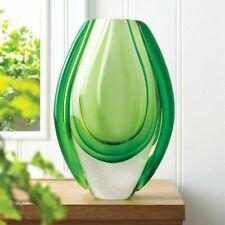 8.5in Light Emerald Green Art Handmade Glass Flower Vase Blown Art Sculpture