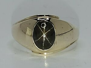 Mens 10k Solid Yellow Gold Natural Black Star Sapphire Solitaire Ring Size 10