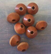 Vintage Retro Hippe Wood Stock Honey Brown Wood Organic Orbit Saucer Bead Lot