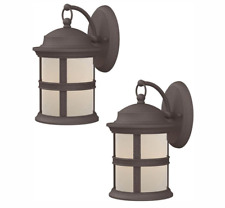 Hampton Bay 6-Watt Bronze Outdoor Integrated LED Wall Mount Lantern (2-Pack)