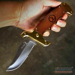 Bowie Folding Pocket Knife Real Wood Camping Hunting Survival EDC For Collectors