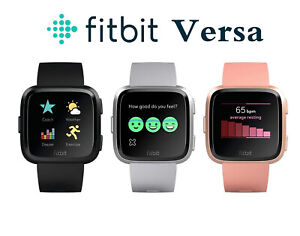 Fitbit Versa Smartwatch Fitness Activity Tracker with L S Band Black Pink Silver