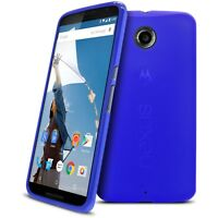 Coque Housse Pour Motorola Nexus 6 Semi Rigide Gel Extra Fine Mat/Brillant Bleu