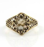 Solid 14K Yellow Gold Smoky Quartz Filigree Ring Size 7.75