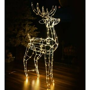 NEW CHRISTMAS WIRE REINDEER WARM WHITE LIGHT BRILLIANT STOOD OUTSIDE YOUR HOME