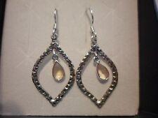 Brazilian Citrine Dangle Earrings in 925 Sterling Silver-2.14 Carats
