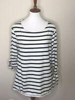 Old Navy Stripe White Black Size XL 3/4 Sleeve Women's Top Shirt Tie Sleeves