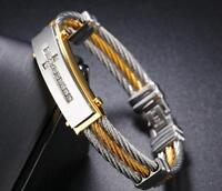 Mens Stainless Steel Twisted Cable Crystals Cross Bangle Bracelet Silver Gold