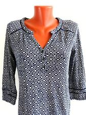 Lucky Brand Womens Top Blouse Navy Blue Geometric Cotton Blend Size S Casual