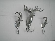 Metal Stag Head with Ibex Wall Mount Coat Hook Set of 3 Deer Buck Antelope au.