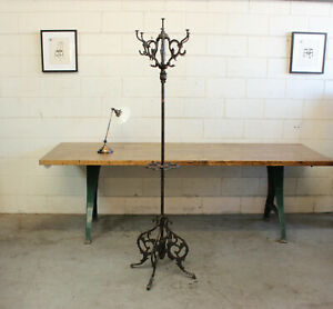 Antique Victorian Cast Iron Copper Flash Japanned Hall Tree Coat Rack Hook 1890s