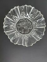 """Clear Sawtooth Serrated Fruit Dish with Grapes, Pears, Leaves Glass 7 1/4"""""""