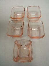 Vintage Heisey Lot of 5 Clear Pink Footed Master Salt Dips VGC Octagon
