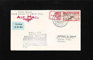 Nueva Laredo > Mexico City 1st Flight Oct 1 1928  Air Mail Cover «