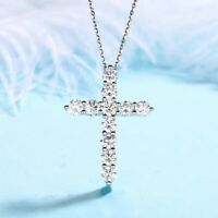 Natural Multi Round White Fire Topaz Gems Silver Cross Charm Necklace Pendants