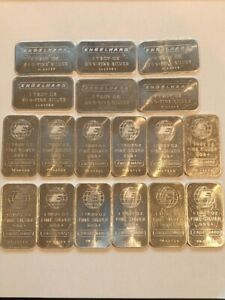LOT OF 18 ENGELHARD 1 Oz 999+ FINE SILVER BARS ALL Numbered Fair Condition